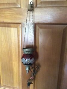 Antique Painted Cranberry Victorian Art Glass Ceiling Hanging Electric Light