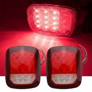 Pair Truck Trailer Stud Mount Stop Turn Tail Back Up Lights 16 Led Red white