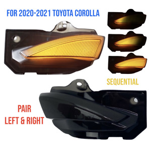 For Toyota Corolla 2020 Pair Mirror Sequential Turn Signal Light Smoked Lens