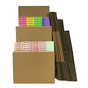 Valuesupplies Moving Kit 4 24 Boxes And Labels Brown Single wall Boxes