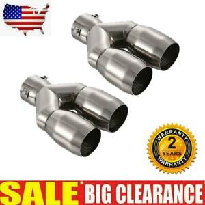 Exhaust Tips Dual Double Wall Stainless Steel 2 5 Inlet 2 6 Outlet 8 85 Long