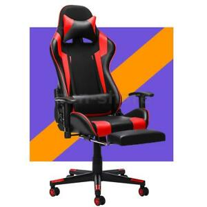 Ergonomic Gaming Chair Swivel Office Computer Chair Pu Leather Recliner Footrest