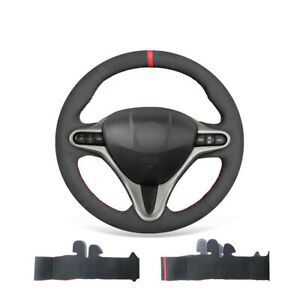 Black Suede Car Steering Wheel Cover For Honda Civic 8 For Acura Csx 2006 2011