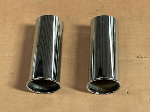 X2 Oem Exhaust Muffler Tail Pipe Chrome Tips For Mercedes Verify Part 1234920614