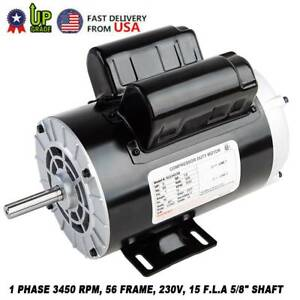 3hp 3450rpm Air Compressor Duty Electricity Motor 1phase 56 Frame 5 8 Shaft Usa
