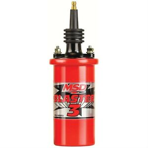 Msd 8223 Red Blaster 3 45 000v Ignition Coil Oil Filled Canister Each New