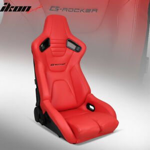 Universal Reclinable Bucket Racing Seat Dual Slider Driver Left Red