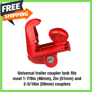 Trailer Lock Universal Size Fits 1 7 8 In 2 In And 2 5 16 In Red New