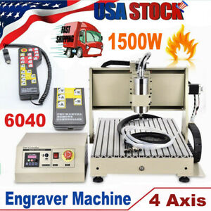 Usb 4 Axis Cnc 6040z Router Milling Engraver Machine handwheel Watercooled 1 5kw