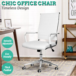 Computer Desk Chair Office Executive Task Swivel Chair Padded Adjustable White