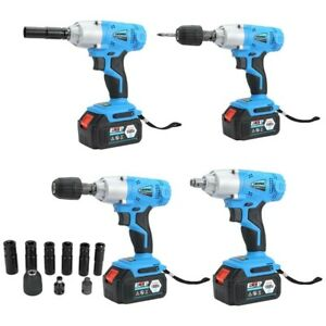 1 2 530nm Electric Cordless Brushless Impact Wrench Set Battery Charger Box