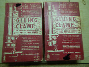 2 Vintage Sears 3 4 Pipe Clamp Fixtures In Boxes Woodworking Tooling