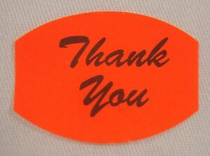 100 Self adhesive Thank You Labels Stickers Retail Store Supplies