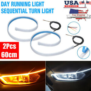 New 2x 60cm Led Drl Headlight Strip Lights Amber Sequential Turn Signal Flexible