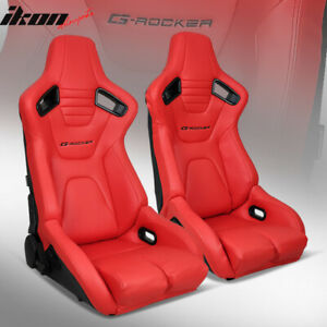 Bucket Racing Seats Universal Pair Reclinable Dual Sliders Red Pu Carbon Leather
