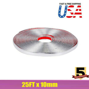 25ft 10mm Chrome Molding Trim Strip Pvc Car Styling Decoration For Most Cars