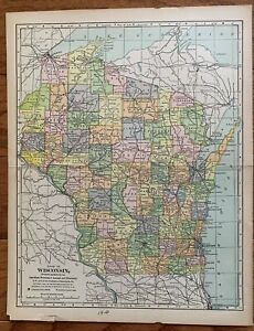 1910 Antique Wisconsin Map Vintage State Map Gallery Wall Art