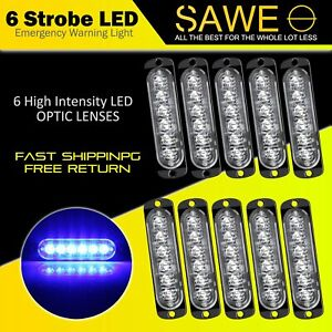 10 X Blue 6 Led Car Truck Emergency Beacon Warning Hazard Flash Strobe Light Bar
