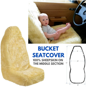 Genuine Sheepskin Seat Cover Champagne Car Driver Seat Universal Bucket Covers