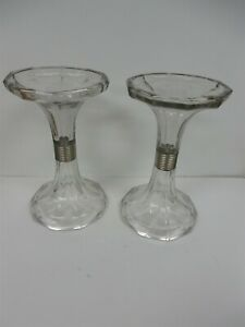 Pair Fabulous Old Vintage Store Display Glass Shelf Risers