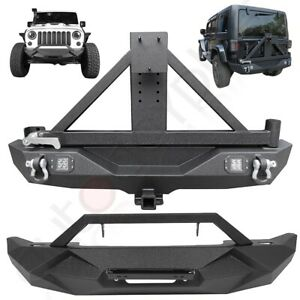 Offroad Front Rear Bumper W Spare Tire Carrier For 2007 2018 Jeep Wrangler Jk