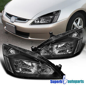 For 2003 2007 Honda 03 07 Accord Headlights Signal Lamps Black Replacement