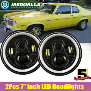 7 in Projector Round Led Headlight Hi lo Drl Fit Oldsmobile Omega 1974 1984