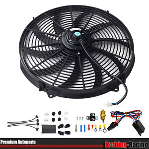 16 Inch Electric Radiator Cooling Fan 12v 3000cfm W 40a Relay Thermostat Kit