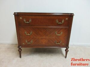 Antique French Inlay Brass Chest Dresser Server Louis Xv Style Console Cabinet