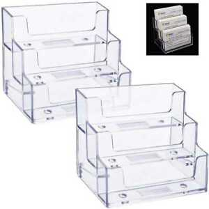 2 Pack Business Card Holder 3 Tiers Plastic Stand Organizer Clear Display For Of