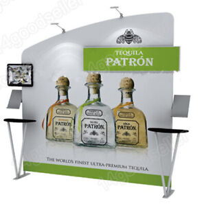 10ft Trade Show Booth Pop Up Display Back Wall With Product Shelves Spotlights