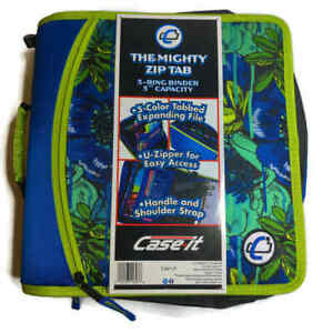 Case It Mighty Zip Tab 3 inch 3 ring Zipper Binder T 641 p Blue Floral New