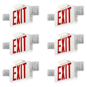 6 Pack Red Led Exit Sign Ul listed Emergency Light Dual Led Lamp Set Us