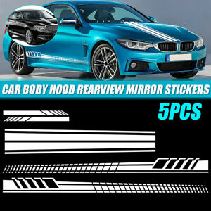 5pcs Long Stripe Graphics Car Racing Side Body Mirror Vinyl Decal Stickers White