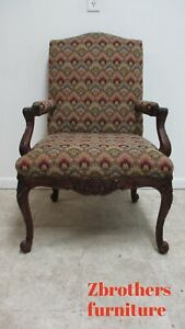 Baker Furniture French Carved Leg Living Room Lounge Arm Club Chair A