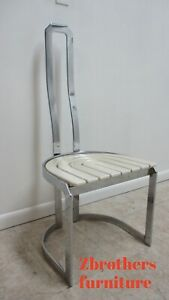 Vintage Design Institute Chrome High Back Dining Room Side Chair Mid Century B