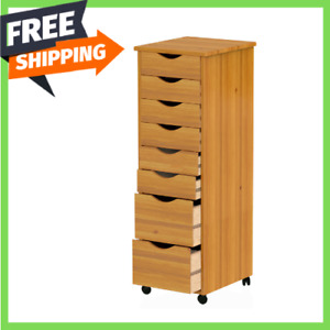 8 drawer File Cart Cabinet Solid Wood Home Office Craft Storage Organizer Brown
