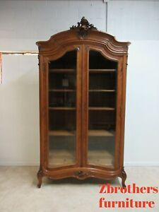 Antique Walnut French Cupboard Display Wardrobe Armoire Cabinet Linen Chest