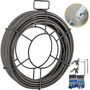Vevor Drain Cable Sewer Cable 50ft 1 2in Drain Cleaning Cable Auger Snake Pipe
