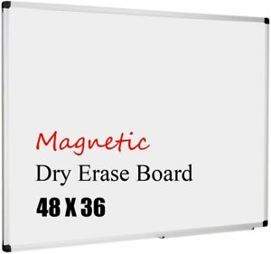Magnetic Whiteboard 48 X 36 Dry Erase Board With Detachable Marker Tray