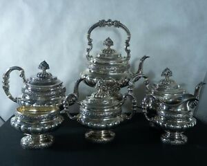 Reed Barton Sterling Silver Repousse Tea Coffee Set With 7pc 210 Troy Ounces