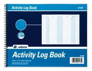Adams Activity Log Book Spiral Bound 8 5 X 11 Inches 100 Pages White
