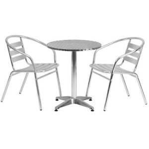 23 5 Round Aluminum Indoor outdoor Table With 2 Slat Back Chairs