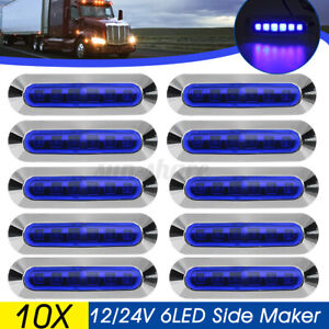 10x Blue 6 Led Side Marker Lights Clearance Lamp 12v 24v Truck Trailer Caravan