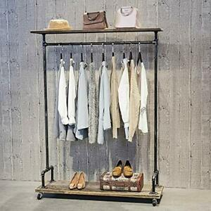 Industrial Pipe Clothing Rack On Wheelsvintage Rolling Rack For Hanging Cloth