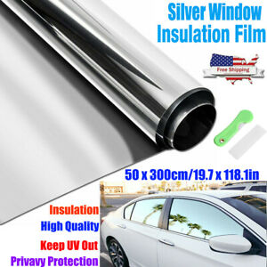20 x10ft Uncut Roll Window Mirror Silver Chrome Tint Film Car Home Office Glass