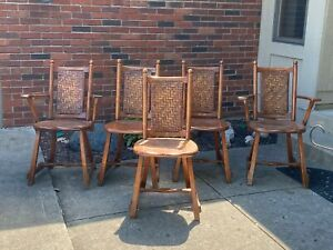 Old Vtg Antique Hickory Arm Chairs Martinsville Indiana Branded Original Lot 5