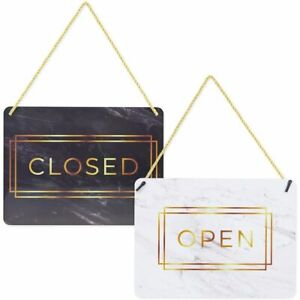 Double Sided Open And Closed Sign For Businesses Marble Print 2 Pack