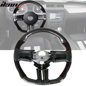 Fits 10 14 Ford Mustang Carbon Cf Alcantara Steering Wheel With Red Stitching