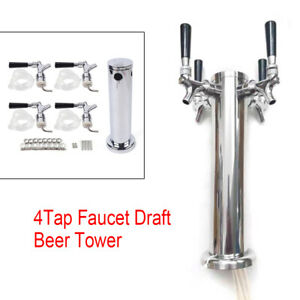 76mm Stainless Dual Chrome Steel Fourtap Faucet Beer Tower Bar For Kegerator Usa